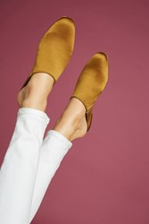 Anthropologie Intentionally Blank Library Satin Slides Yellow