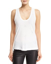 Zadig And Voltaire Deep Holes Jersey Tank Blanc Blanc Argent