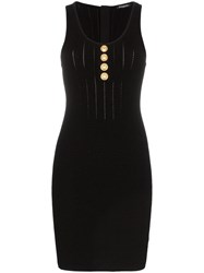 Balmain Sleeveless Button Detail Knit Mini Dress Black