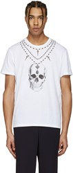 Alexander Mcqueen White Skull Necklace T Shirt