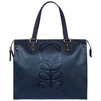 Orla Kiely Embossed Flower Leather Tote Bag Navy