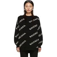Balenciaga Black And Off White Jacquard Logo Crewneck Sweater