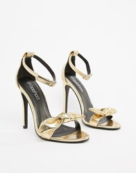Boohoo Bow Detail Heeled Sandals In Gold Gold