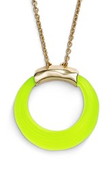 Women's Alexis Bittar 'Lucite' Open Circle Pendant Necklace Neon Yellow