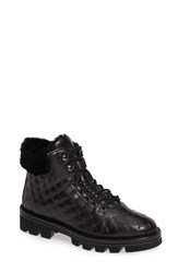 Pas De Rouge Lotty Quilted Genuine Sheep Fur Moto Boot Black Leather
