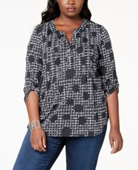 Ny Collection Plus Size Printed Pintucked Top Jet Pearljam