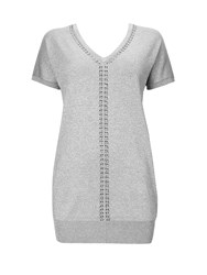 Wallis Silver V Neck Embellished Tunic Jumper
