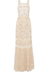 Needle And Thread Lace Trimmed Embellished Tulle Gown Blush