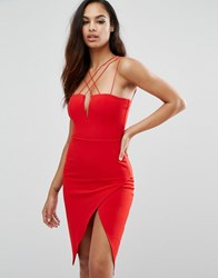 Rare London Plunge Pencil Dress With Strap Detail Red