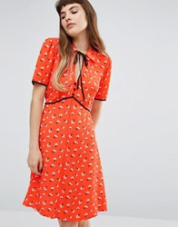 Miss Selfridge Floral Tie Neck Tea Dress Multi