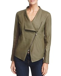 Bb Dakota Kenrick Draped Leather Coat Sage