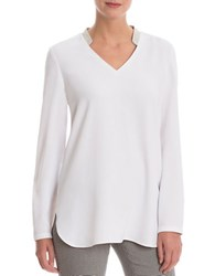 Nic Zoe Solid Long Sleeve Top Paper White