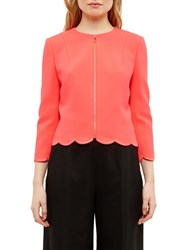 Ted Baker Heraly Scallop Detail Cropped Jacket Mid Orange