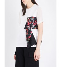Izzue Floral Panel Cotton T Shirt White