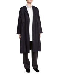 Eskandar Collarless Dress Coat Navy