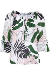 Milly Ruffle Trimmed Printed Silk Crepe De Chine Blouse White