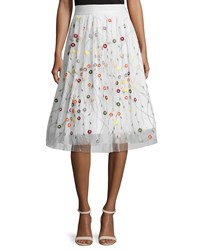 Alice Olivia Catrina Embroidered Tulle Skirt Cream Ivory