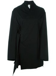 Damir Doma Raw Edge Wrap Coat Black
