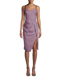Milly Alice Sleeveless Striped Shirting Dress Pink Black
