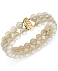 Belle De Mer Cultured Freshwater Pearl Two Row Bracelet In 14K Gold 8 1 2Mm White