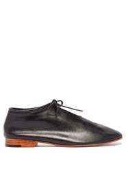Martiniano High Cut Lace Up Leather Loafers Black