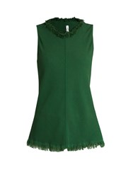 Raquel Allegra Frayed Collar Sleeveless Crepe Top Green