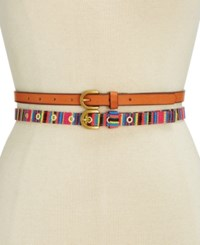 Inc International Concepts Striped 2 For 1 Belt Only At Macy's Brown Multi