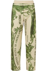 Moschino Printed Satin Jersey Track Pants Green