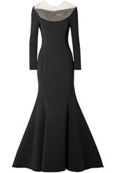 Reem Acra Woman Crystal Embellished Tulle And Cady Gown Black