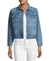 Joie Runa Embroidered Denim Jacket Blue