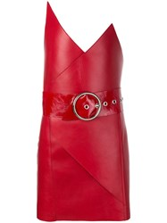 Manokhi Belted Pointy Strapless Mini Dress Red