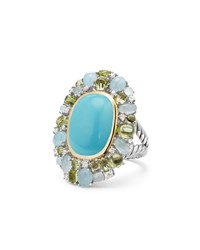 David Yurman Mustique Cabochon Turquoise Flower Ring With Diamonds