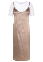 Neon Rose 2In1 Summer Dress Taupe Grey