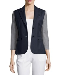 Atm Square Front Sport Blazer Navy Gray
