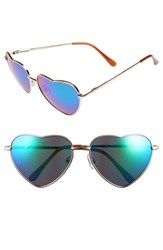 Junior Women's Bp. Heart Shaped 58Mm Sunglasses Blue Gold