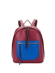 Christopher Kon Kramer Colorblock Leather Backpack Berry Combo