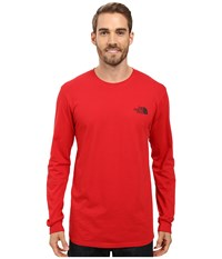 The North Face Long Sleeve Red Box Tee Tnf Red Asphalt Grey Men's Long Sleeve Pullover