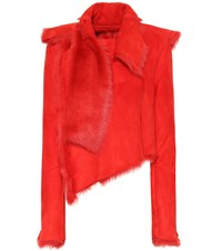 Unravel Fur Lined Suede Jacket Red