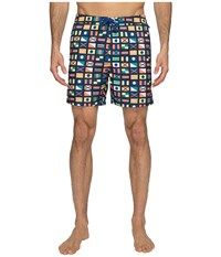 Original Penguin Nautical Flag Printed Swim Shorts Monaco Blue Men's Swimwear