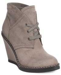 Ziginy Zigi Soho Karline Lace Up Wedge Booties Women's Shoes Grey