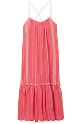 Lemlem Saba Tiered Embroidered Cotton Gauze Maxi Dress Coral Gbp