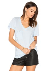 Bobi Light Weight Jersey V Neck Pocket Tee Blue