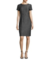 Ellen Tracy Petite Metallic Beaded Sheath Dress Black Ivory
