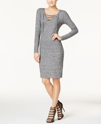 Fire Juniors' Lace Up Bodycon Dress Heather Grey