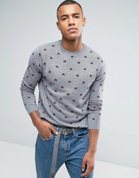 Asos Merino Blend Jumper With Stars Charcoal Grey