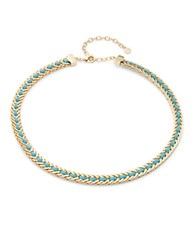 Rj Graziano Leather Woven Collar Necklace Turquoise