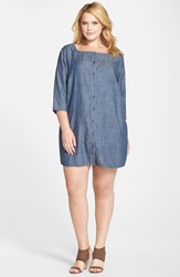 Eileen Fisher Square Neck Tencel And Linen Chambray Layering Dress Plus Size Denim