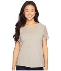 Dylan By True Grit Slub Knit Tee W Sierra Lace Sleeves Gravel Women's Short Sleeve Pullover Silver