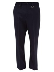 Valentino Embroidered Waistband Wool Twill Trousers Navy