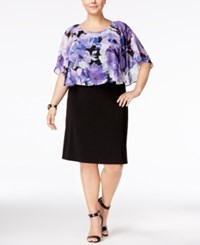 Connected Plus Size Printed Cape Overlay Sheath Dress Purple Multi
